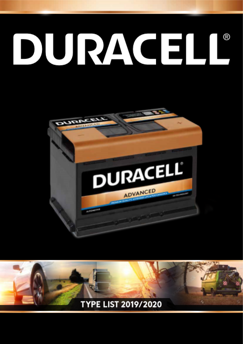 Duracell Automotive Type List